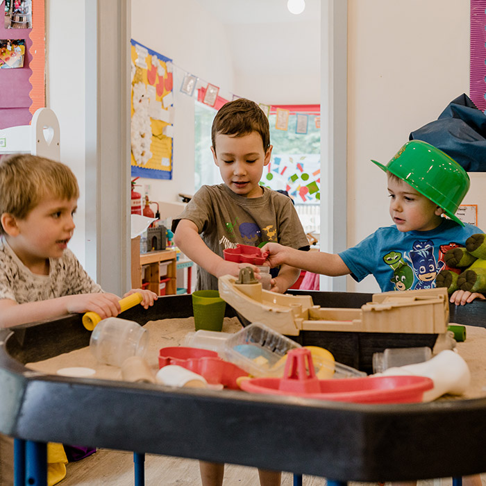 preschool pupils learning new skills in the classroom